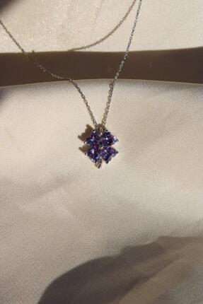 AME SOEUR 925 Ayar Gümüş Purple Four Leaf Clover Kolye 2