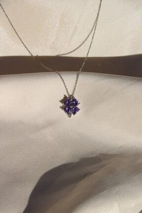 AME SOEUR 925 Ayar Gümüş Purple Four Leaf Clover Kolye 3