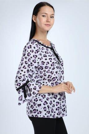 Selent Kadın Lila Leopar Desenli Kolları Volanlı Büyük Beden Bluz 1