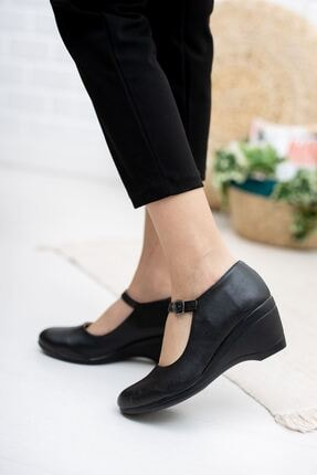 epaavm Dolgu Taban Siyah Cilt Ayakkabı 1