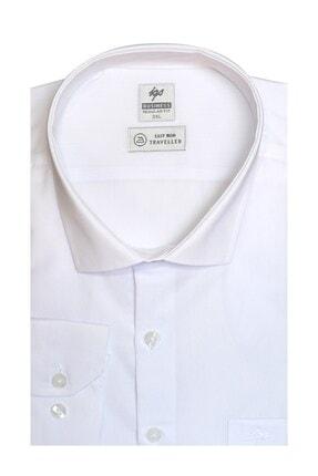 İgs Erkek Beyaz Regularfıt / Rahat Kalıp 7 Cm Klasik Gömlek 0