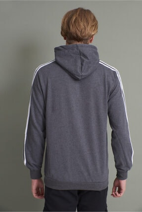 Tena Moda Erkek Antrasit Kapşonlu Kanguru Cepli Kolları Üç Şeritli Sweatshirt 4