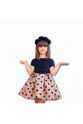 Abel & Lula Abel&lula Kız Çocuk Puantiyeli Lacivert Pembe Elbise 0