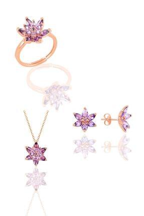 Söğütlü Silver Gümüş Rose Taşlı Nilüfer Lotus Çiçeği Üçlü Set 0
