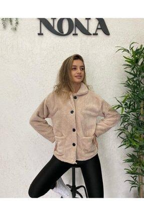 NONA Cepli Peluş Ceket - Taş 1
