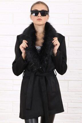 Arlin Kadın Şal Yaka Kürklü Süet Kuşaklı Siyah Kaban 0