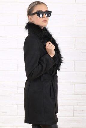 Arlin Kadın Şal Yaka Kürklü Süet Kuşaklı Siyah Kaban 1