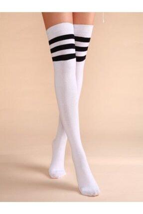 Çoraphane Diz Üstü Çizgili Çorap 3 Çift 3