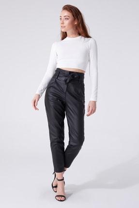 BERFUĞ KIRAN Deri Beli Kuşaklı Yüksek Bel Havuç Pantolon 0