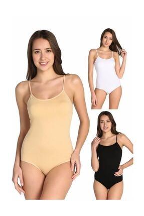 Tutku Kadın Karışık Renk 3'lü Ip Askılı Likralı Kancalı Çıtçıtlı Body Elf568t0148ccm3 Karışık Renk Xl 0