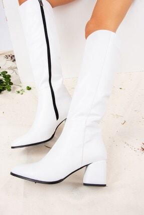 Fox Shoes Beyaz Suni Deri Kadın Çizme J848300109 2
