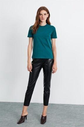 GRIMELANGE Hannah Kadın Petrol Yuvarlak Yakalı Basic T-shirt 2