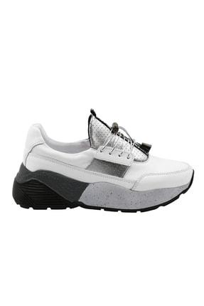 Abbondare Hakiki Deri Beyaz Kadın Spor Ayakkabı-sneaker 1