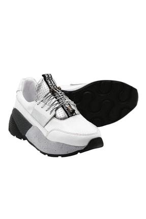Abbondare Hakiki Deri Beyaz Kadın Spor Ayakkabı-sneaker 3