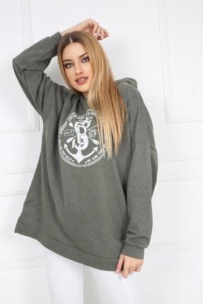 Butik Vanilin Kadın Haki Amblem Baskılı Kapüşonlu Yırtmaçlı Sweatshirt 1