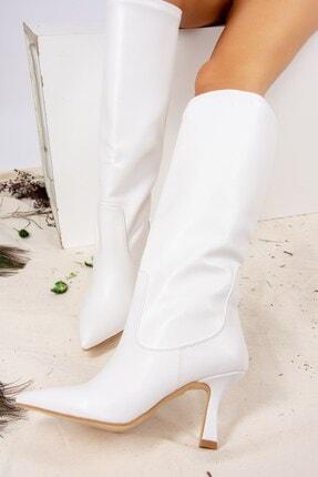 Fox Shoes Beyaz Suni Deri Kadın Çizme J572463309 1