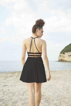 BERFUĞ KIRAN Sırt Dekolteli Ince Askılı Mini Elbise-siyah 1