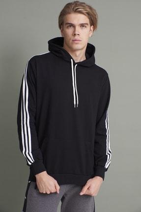 Tena Moda Erkek Siyah Kapşonlu Kanguru Cepli Kolları Üç Şeritli Sweatshirt 0