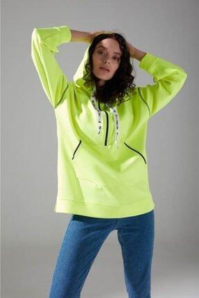 Mizalle Youth Neon Karyoka Sweatshirt (Yeşil) 1