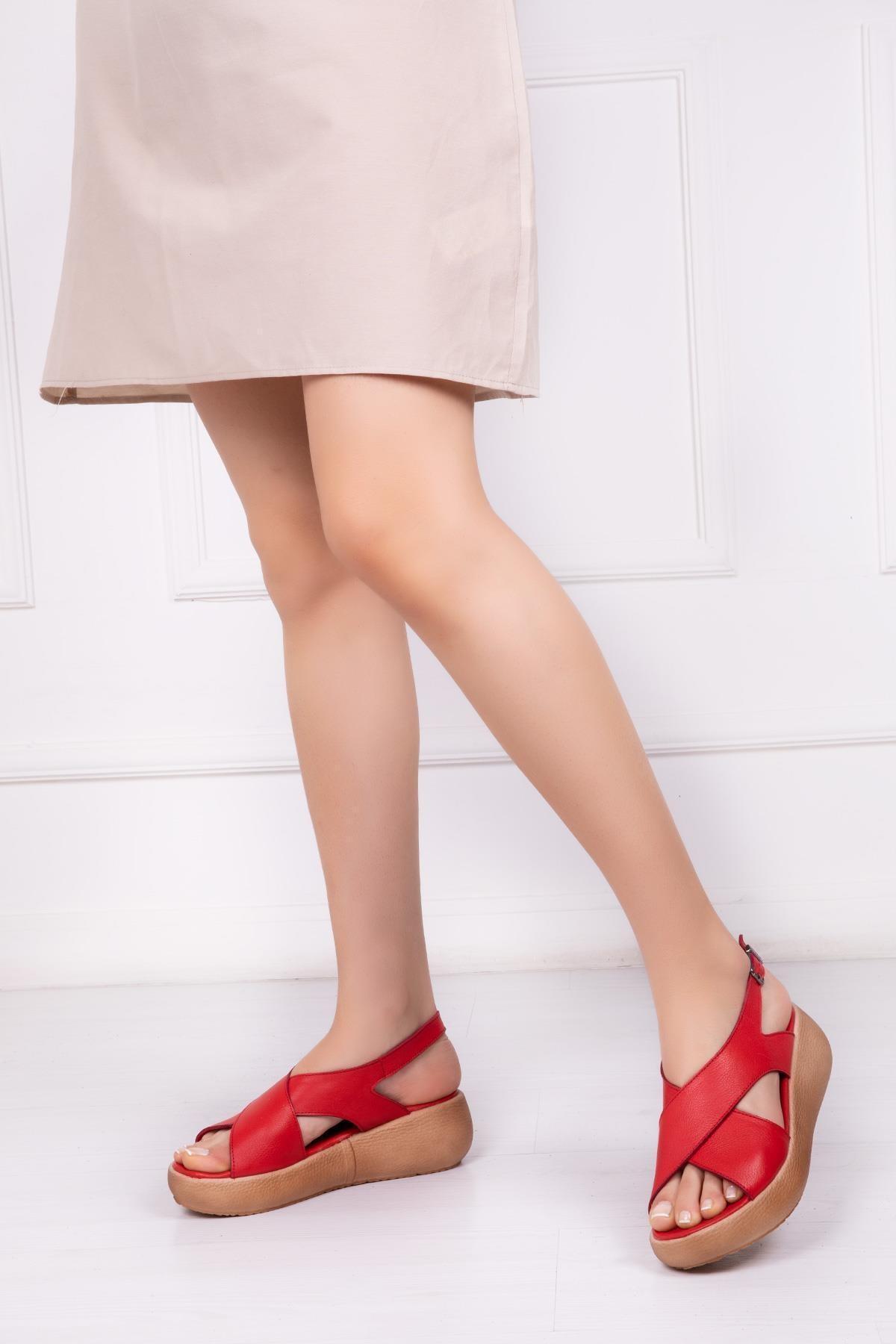 Hakiki Deri Kırmızı Kadın Deri Sandalet Dp-20669
