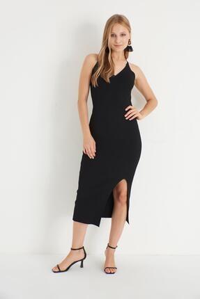 Miyore Çapraz Askılı Triko Elbise- Siyah 2