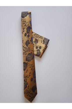 bentıes Benties Hardal Çiçek Desen Mendilli Kravat Set Ince 6 Cm K34 1