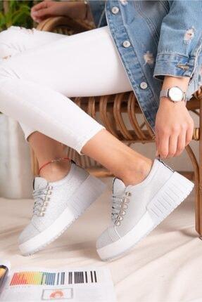 Limoya Kadın Gümüş Simli Bağcıklı Yüksek Tabanlı Casual Sneakers 3
