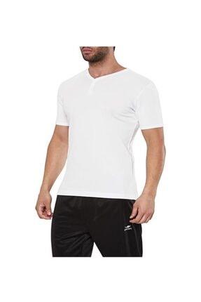 15s-1206 Beyaz Penye Slim-fit V Yaka Dekoratif Düğmeli Erkek Spor T-shirt resmi