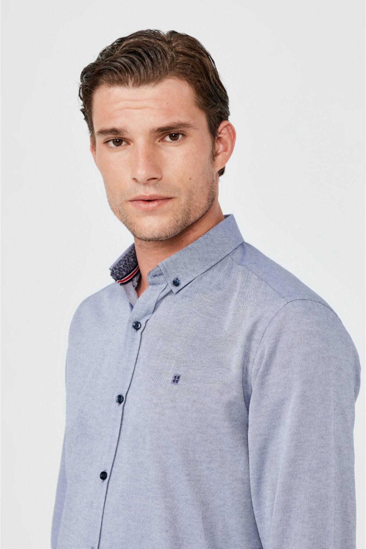 Erkek Koyu Mavi Oxford Düğmeli Yaka Slim Fit Gömlek A02b2287