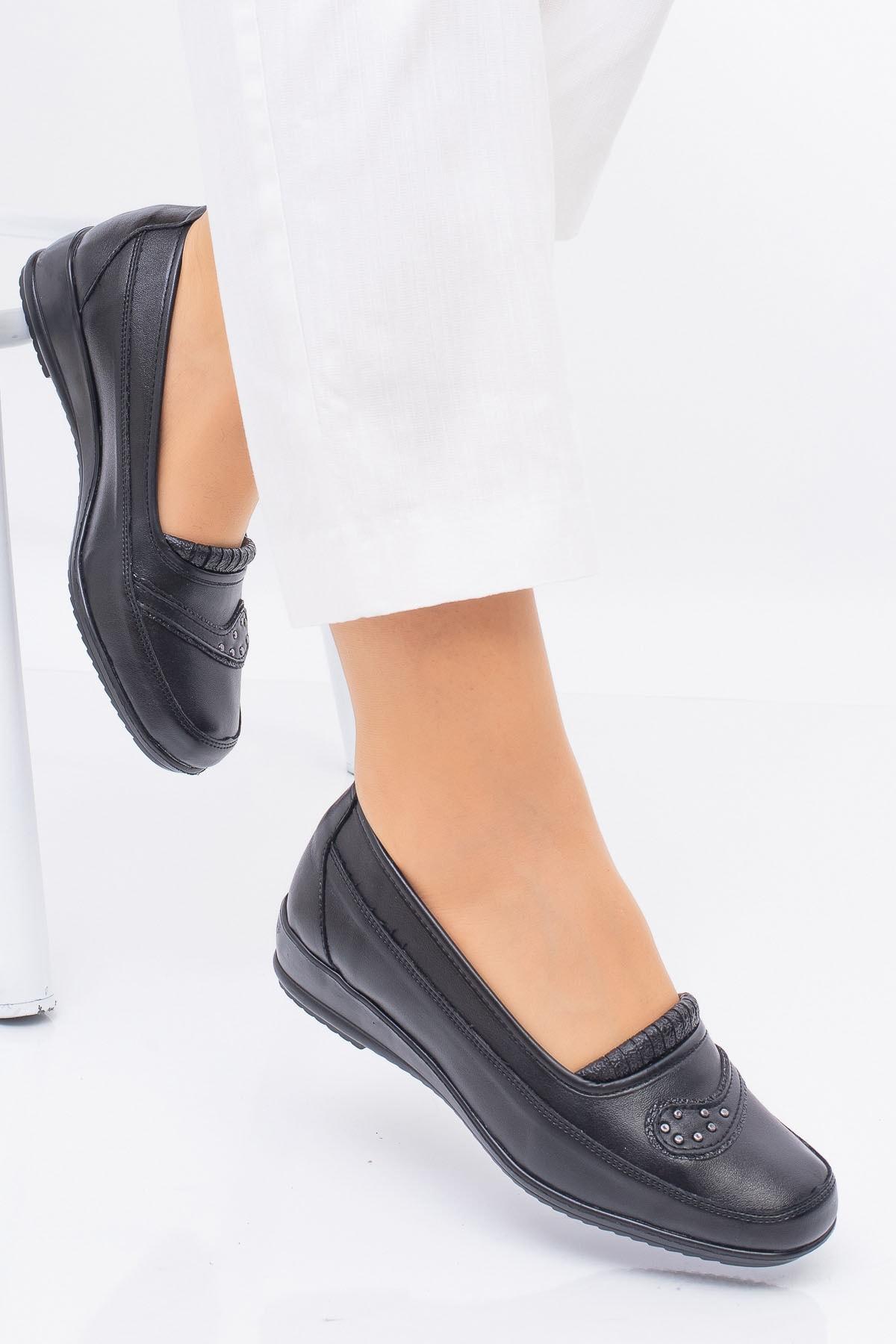 Full Comfort Ortopedik Taban 7 Taşlı Siyah Anne Ayakkabısı