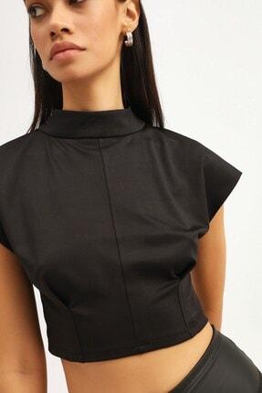 RANESA Kadın Siyah Boğazlı Crop Bluz 2