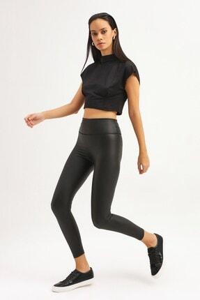 RANESA Kadın Siyah Boğazlı Crop Bluz 3