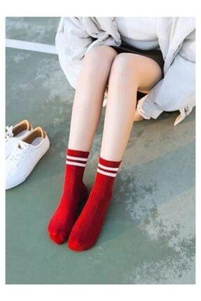 Adel Unisex 9'lu Karışık Renkli Çizgili Kolej Çorap 4