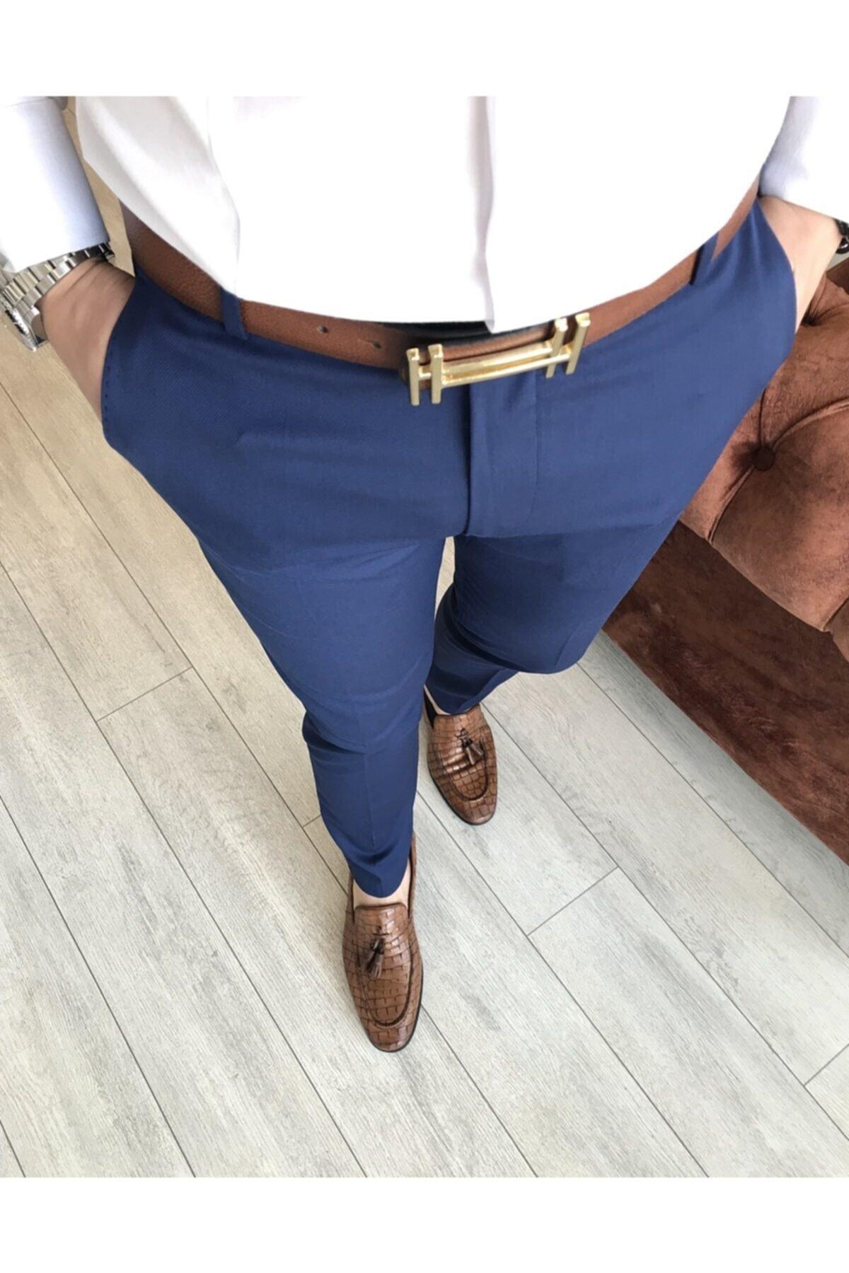 Italyan Stil Slim Fit Erkek Kumaş Pantolon Açık Lacivert T4828