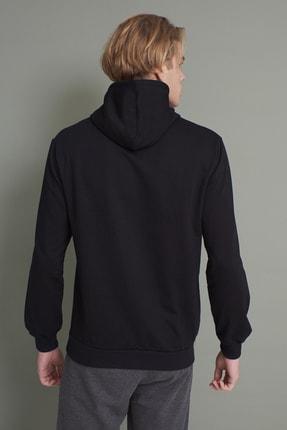 Tena Moda Erkek Siyah Kapşonlu Kanguru Cepli So Far So Good Baskılı Sweatshirt 4