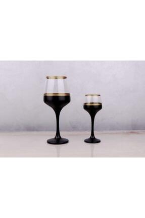 Glassya Gold Şeritli Siyah Kadeh (6'lı Set) 1