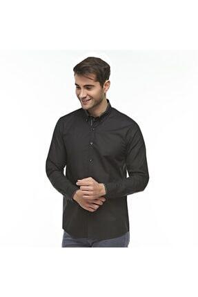 Otto Moda Siyah Casual Erkek Gömlek Yaka Desenli 0