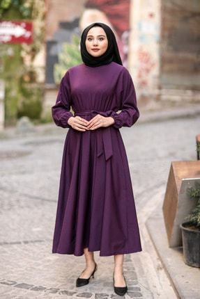 benguen 7069 Tesettür Elbise - Mor 0
