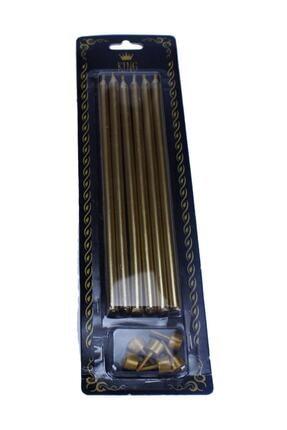 TT Tahtakale Toptancıları Doğum Günü Pasta Mumu Renkli Gold Gümüş 18 cm 6 Adet Gold 0