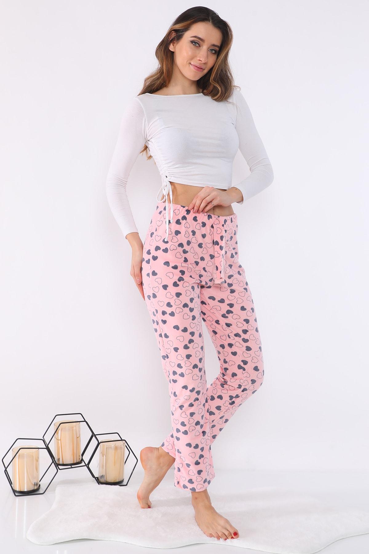 Kadın Kadife Baskılı Pijama Altı
