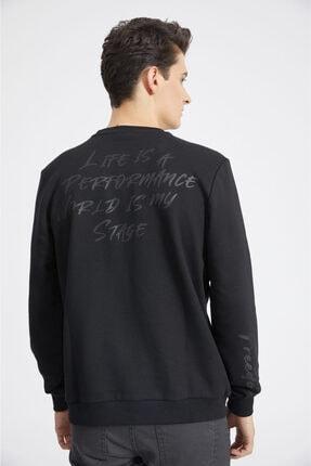 Avva Erkek Siyah Bisiklet Yaka Baskılı Sweatshirt A02y1056 4