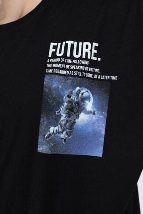 Millionaire Siyah Future Baskılı Oversize T-shirt 4