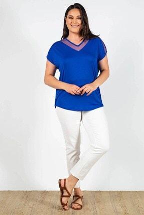 Womenice Büyük Beden Lacivert Yakası Kolu Tüllü Bluz 0