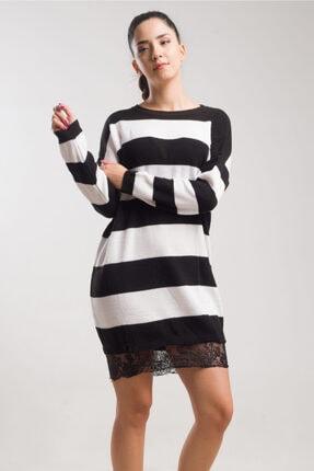 caddecity Çizgili Triko Etek Dantel Detaylı Elbise 2