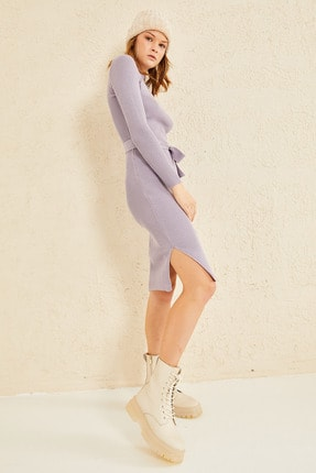 oshebu Fitilli Kuşaklı Triko Elbise 1