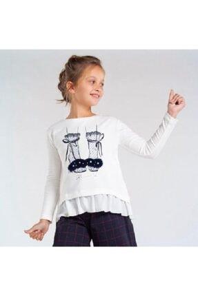 Kız Çocuk Ekru Uzun Kol Bluz 7074 MYRL BLUZ