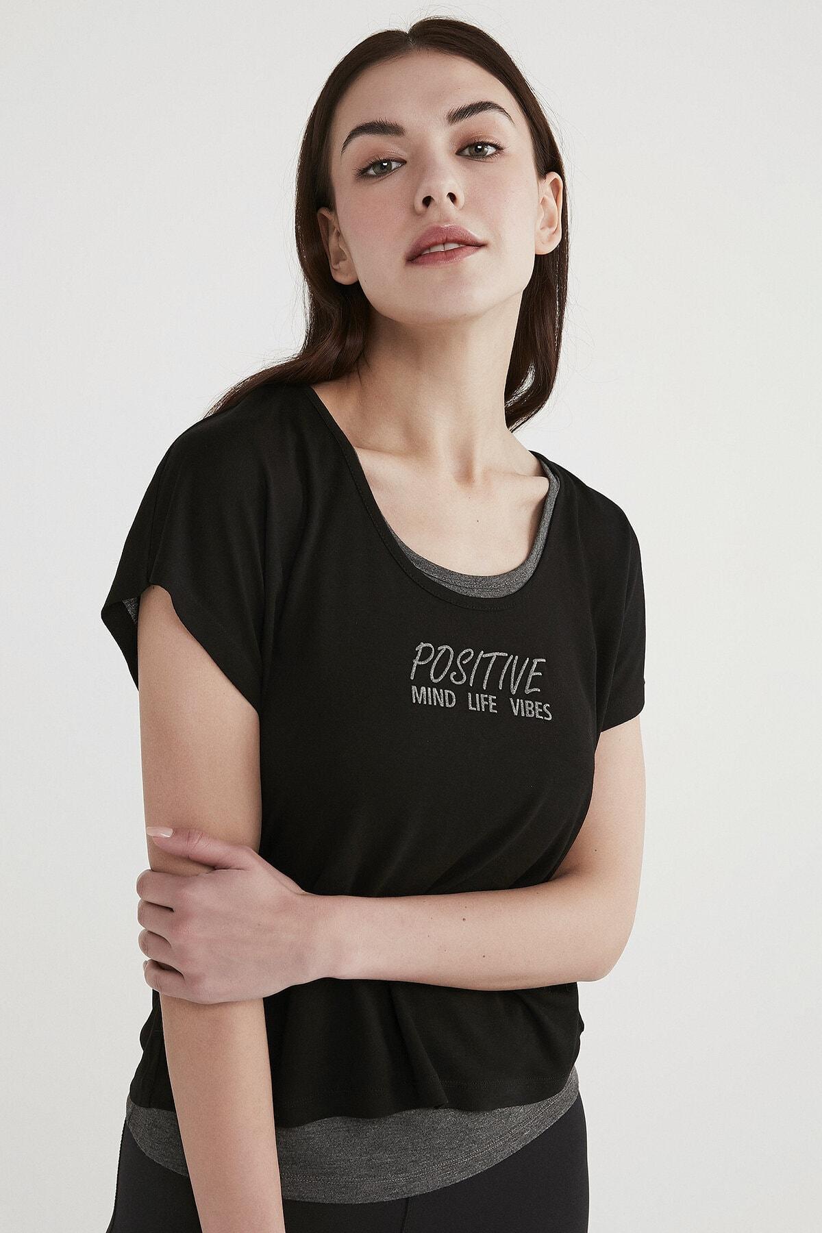 Penti Kadın Siyah Positive Double Tişört 1