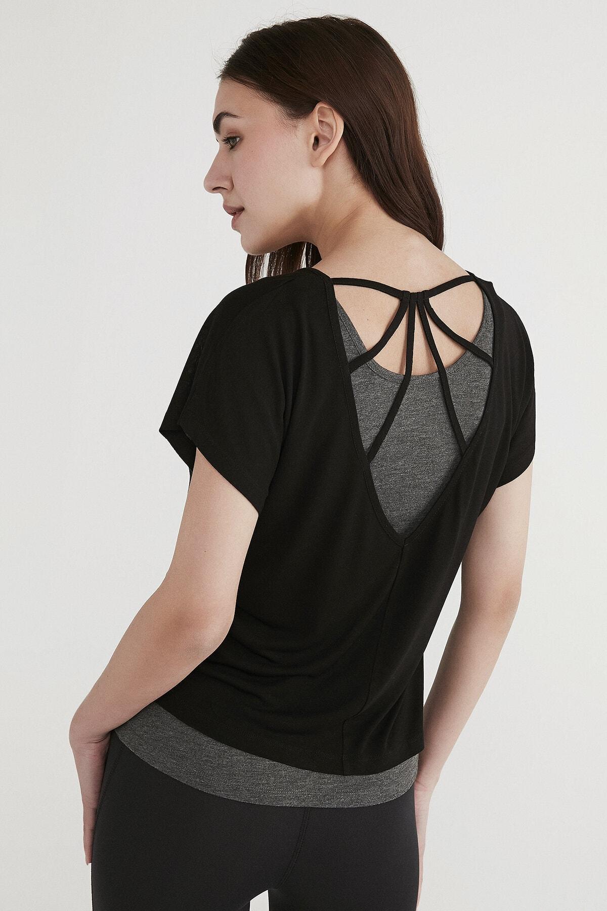 Penti Kadın Siyah Positive Double Tişört 2