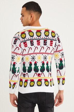 Tarz Cool Erkek Beyaz Christmas Yılbaşı Kazağı-noelkzkr01s 4