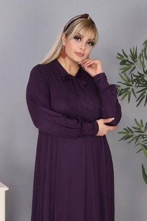 Şirin Butik Kadın Büyük Beden Mürdüm Renk Kravat Yaka Detaylı Viskon Elbise 1
